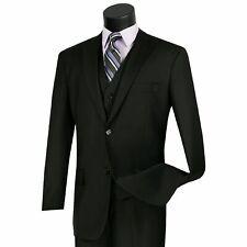 VINCI Men's Black 3 Piece 2 Button Classic Fit Suit NEW w/ Matching Vest