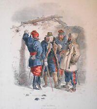 Lithographie originale -Types Mlilitaires - Officiers - H.Lalaisse - Napoléon