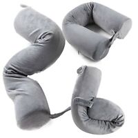 BlueHills Memory Foam Neck Travel Twist Airplane Pillow Velvet Accessories Gray