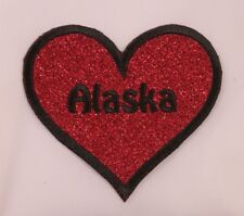 Embroidered Ruby Red Glitter Sparkle Alaska AK State Heart Love Patch Iron On