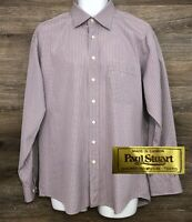 Paul Stuart Men's Pink Striped Cotton Long Sleeve Button Front Shirt 16.5  36