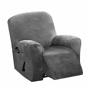 HDCAXKJ Recliner Chair Cover Luxury Velvet 4-Pieces Recliner Cover with Pockets