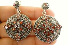 Red Garnet Marcasite Ornate 925 Sterling Silver Dangle Post Earrings