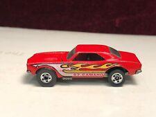 Vintage 1982 Hot Wheels 67 Camaro Red w/ Flames Blackwall Error Reversed Wheels