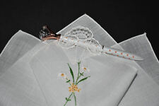 vintage handkerchief HANKY embroider FLOWER lace SHABBY COTTAGE CHIC charming