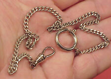 Vintage Antique Silver Plated Fine Curb Link Mans Pocket Watch Chain 14 inch