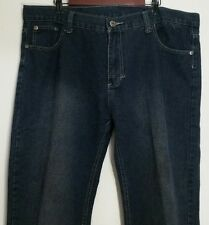 True Rock Jeans 40x30 Dark Wash Relaxed Fit Straight Leg Distressed Cotton Blend