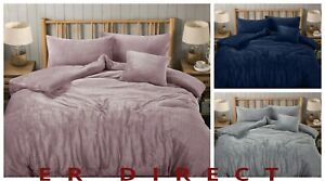 Luxury Teddy Bear Fleece Wave Duvet Cover Set Warm Cosy Soft Wavy Bedding Set