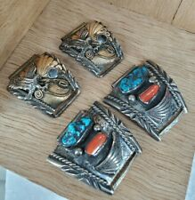 2- Richard Begay + BYE Navajo Sterling Silver Eagle Turquoise Coral Watch Tips