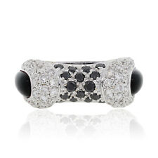 14k White Gold 1.50ctw Black and White Diamond Ring