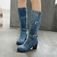 Womens Denim Buckle Strap Knee High Riding Boots Med Block Heels Western Shoes