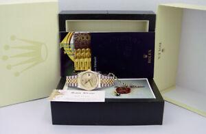 ROLEX Mens 36mm 18kt Gold & SS DateJust Champagne DIAMOND Dial 16233 SANT BLANC
