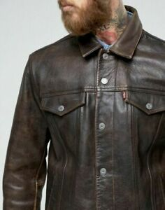 Men's Levi's Buffalo Leather Trucker Jacket - Brown - Size Small