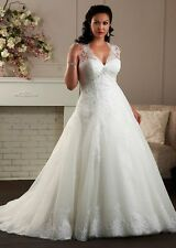 Plus Size Wedding Dress Bridal Gown Formal Quinceanera Prom Party Custom size