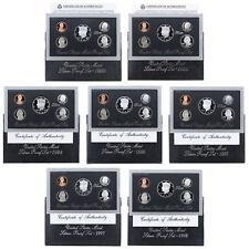 1992-1998 90% Silver United States Proof Sets Run US Mint Box & COA