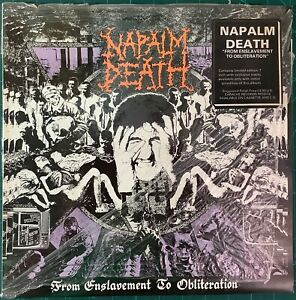 """Napalm Death - From Enslavement To Obliteration 1st Press Vinyl w/7"""" 1988 VG+"""