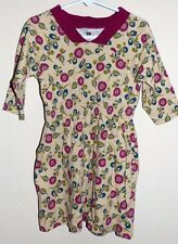 EUC Girls Size 4 Tea Collection Yellow Red Floral Cotton 3/4 Sleeve Tunic Dress