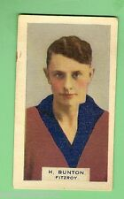 1930s VICTORIAN FOOTBALLERS CARD - HOADLEYS CHOCOLATE #39  H. BUNTON, FITZROY