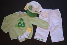 NWT Gymboree Turtle Crossing 18-24 Months Green Sweater White Pants Hat & Socks
