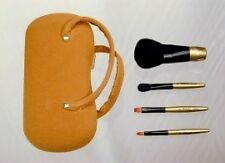 Cosmetic Brush Set: Travel Size 4pc. Tan Suede, Hard Case