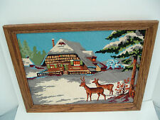 needlepoint tapestry deers in snow winter scene finished wood frame royal Paris