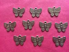 Tibetan Silver Butterfly Charms #4 - 10 per pack 13x17mm