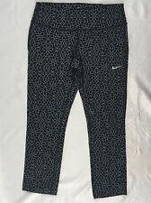 NIKE Epic Run Women's Cropped Leggings Dri-Fit 010 Black 872262 Size L