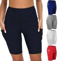 Womens Pockets Yoga Compression Shorts High Waist Sports Cycling Biker Hot Pants