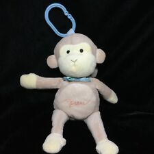 Tan Beige Monkey Musical Plush Stroller Toy Soft Blue Bow Cream Light Up Music