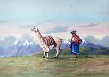 POSTUSCHNY -INDIA AYMARA, ANDES, PERU- SOUTH AMERICAN STUDY, SIGNED WATERCOLOUR
