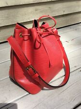 Authentic Louis Vuitton Petit Noe Red Epi Leather Handbag