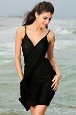Swimwear Bikini Black Wrap Cover up Tunic Draped Flowy Slit Dress 40451