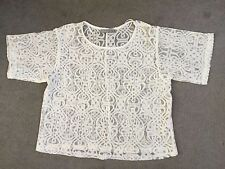 CREAM LACE TOP WITH SHORT SLEEVES AND CREW NECKLINE - SIZE 6 but very big check!