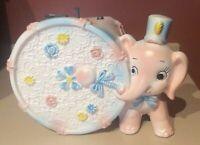 VINTAGE NAPCOWARE  MUSIC BOX Ceramic Planter PINK ELEPHANT Rock a bye Baby C8290