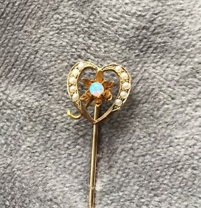 Vintage Heart Stick Pin with Opal and Seed Pearls. Test 10k. .87 Gr
