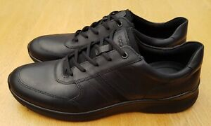 ECCO Irving Black Leather Trainer Style Casual Shoes Size 50 EU / 14.5-15 UK