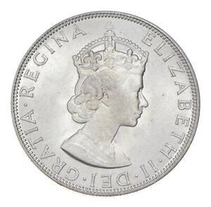 Choice BU Unc 1964 Bermuda 1 Crown Silver Coin - Mint State *795