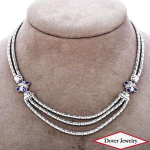 Zancan Diamond 1.32ct Sapphire 18K Gold Beautiful  Necklace 52.6 Grams NR