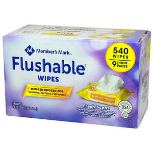 Member's Mark Flushable Wipes (540 wipes total, 9 pk.)