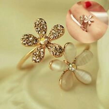 #9028 New Fashion Lovely Gold Daisy Flower Crystal Rhinestone Ring