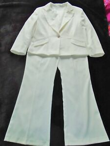 ORIGINAL VINTAGE 80`S WHITE TROUSER & JACKET SUIT BY KIT 14 16 PARTY ROLEPLAY