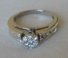 14K White Gold Diamond Cluster Ring - 3.7 grms, Size 5.25, 1/4 ctw