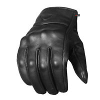 Men's Premium Leather Street Motorcycle Protective Cruiser Biker Gel Gloves