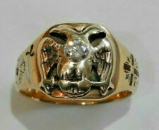 Antique 14K Gold & Enamel Masonic Double Eagle Ring w/ Center Diamond Size 9.5