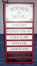 Today's Menu Red Wood Sign & Chalkboard Home Party Bistro Cafe Easel Board Stand