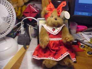 "Bearington Collection Series Limited 7"" Tall Girl Bear Polka Dot Dress"