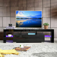 "63"" High Gloss TV Stand Unit Cabinet with LED Shelves 2 Drawer Console Furniture"