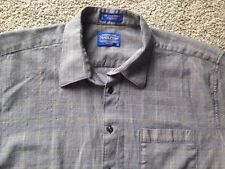 PENDLETON XL 100% Wool Shirt Gray Plaid