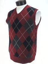 JCREW 100% Lambswool ARGYLE Sweater Vest Red Navy Gray White V-Neck Golf Men's S