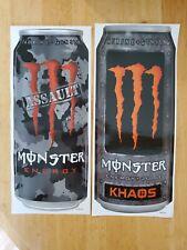 """2 RARE HUGE MONSTER ENERGY CAN STICKERS ASSAULT & KHAOS 11""""x5"""""""